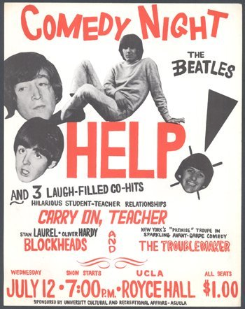 508: The Beatles 'Help!' poster handbill US, early 1970
