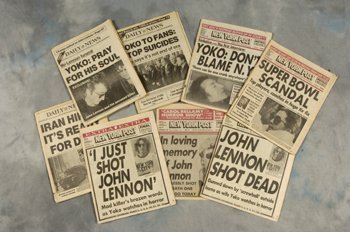 516: John Lennon collection of eight NY newspapers