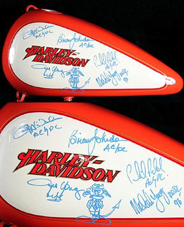 1 - AC/DC signed Harley Davidson gas tank