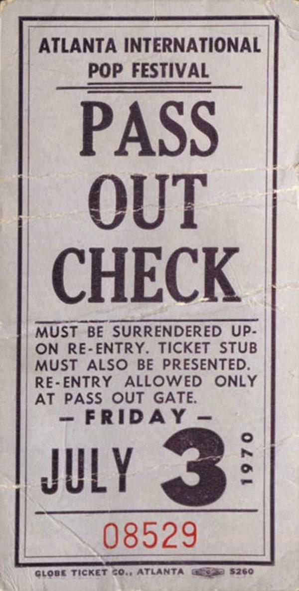 3 - Atlanta Int'l Pop Festival pass, 1970