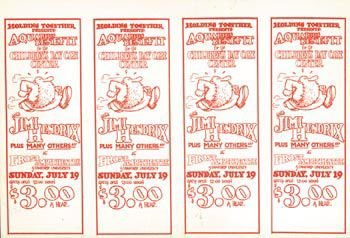 4 - Four uncut tickets for 'Aquarius benefit' concert