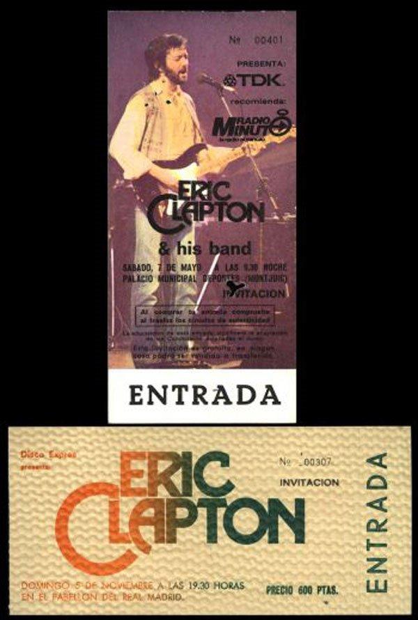 12 - Eric Clapton unused concert ticket 1983