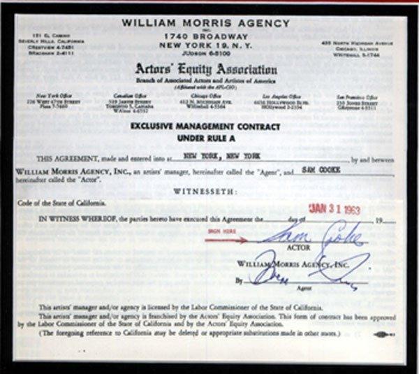 15 - Sam Cook signed document, 1963