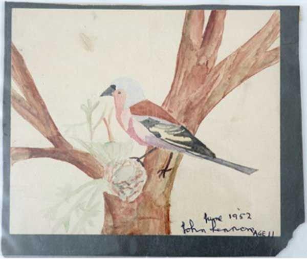 186: 186 - John Lennon signed original watercolour