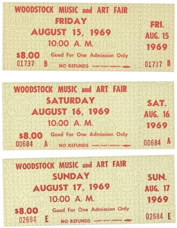 13: Woodstock Day Tickets, 1969