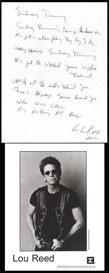 """42*: Lou Reed - Handwritten """"Sunday Morning"""" Lyric"""