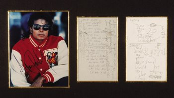 44†: Michael Jackson handwritten lyrics 'Crack Kills'