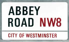 †: Abbey Road sign and Beatles photos