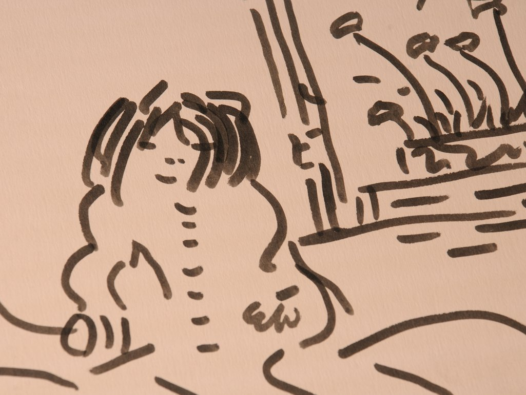 The Beatles / John Lennon: original sumi ink drawing,