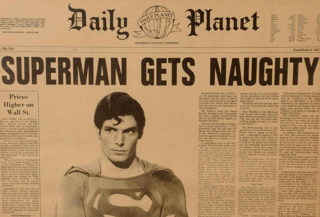 Film: Superman II Daily Planet newspaper props