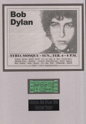 9: Bob Dylan 1966 unused concert ticket 1966