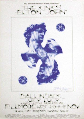 14: Kinks -Elton John Fillmore Poster