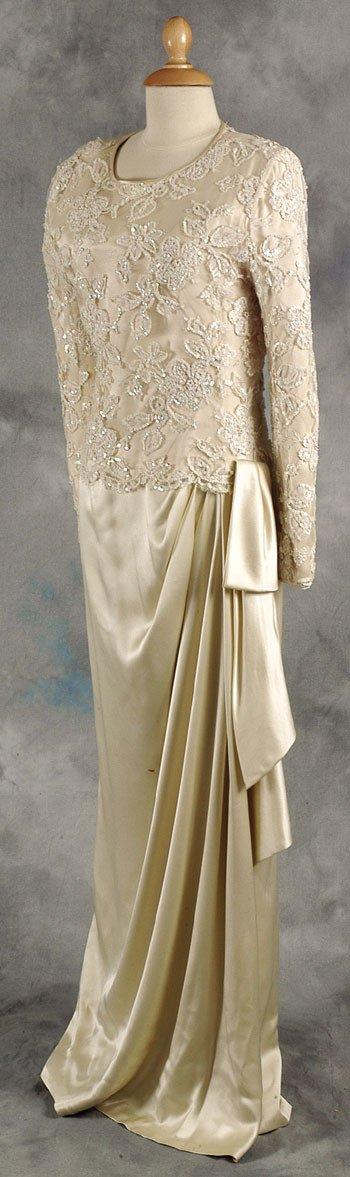 194: Princess Diana replica cream silk evening dress