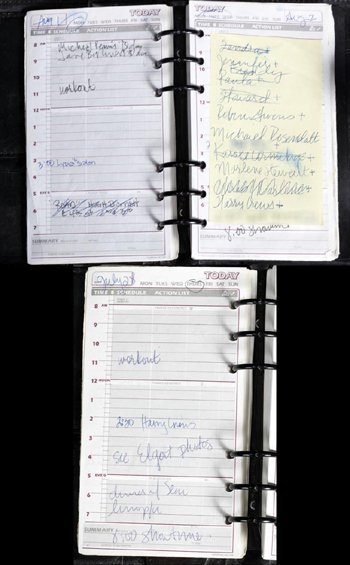 1049: Madonna handwritten daily planner/diary from