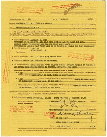 15: Sex Pistols John Lydon signed contract, 1978
