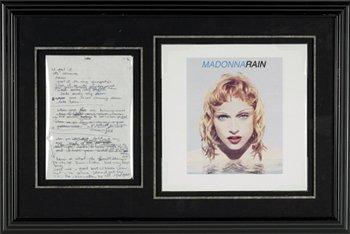 19: Madonna Handwritten 'Rain' Lyrics from 'Erotica' 92