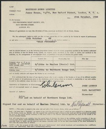 270: John Lennon signed 'Dear Prudence' agreement