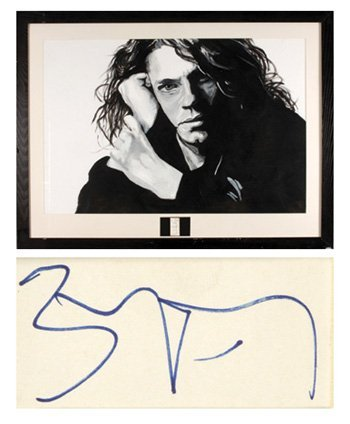 1028: Michael Hutchence autograph and original painting