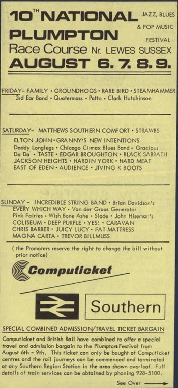 1037: Elton John, Black Sabbath, Deep Purple handbill
