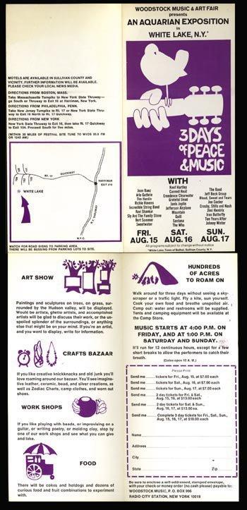 1064: Woodstock - original flyer with ticket form