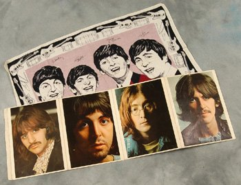 1006: Beatles tea towel and orig White Album display