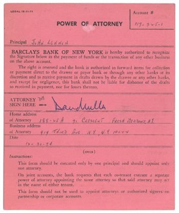 1007A: John Lennon signed power of attorney, 1975