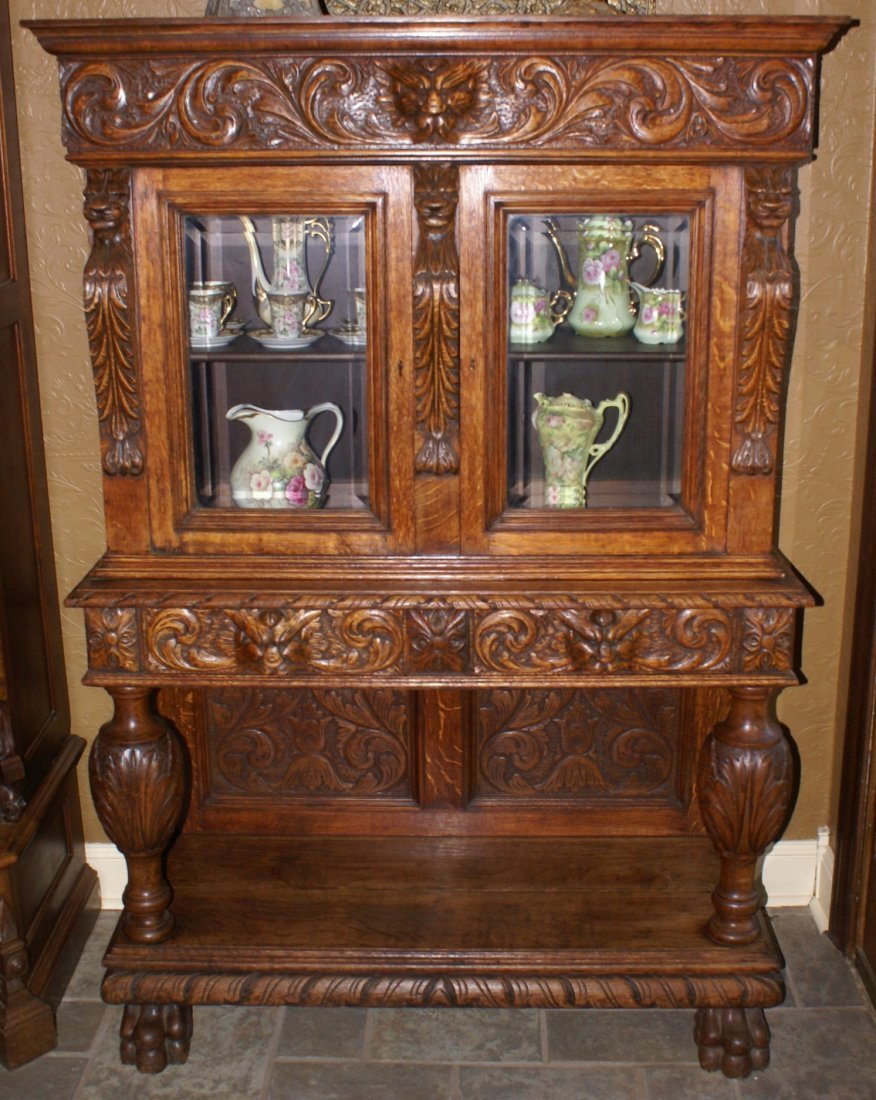 R.J. Horner Carved Oak Liquor Cabinet