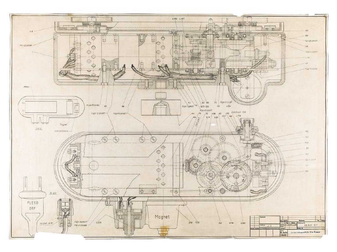 Leitz Leica 250 Motordrive Drawing, 1941