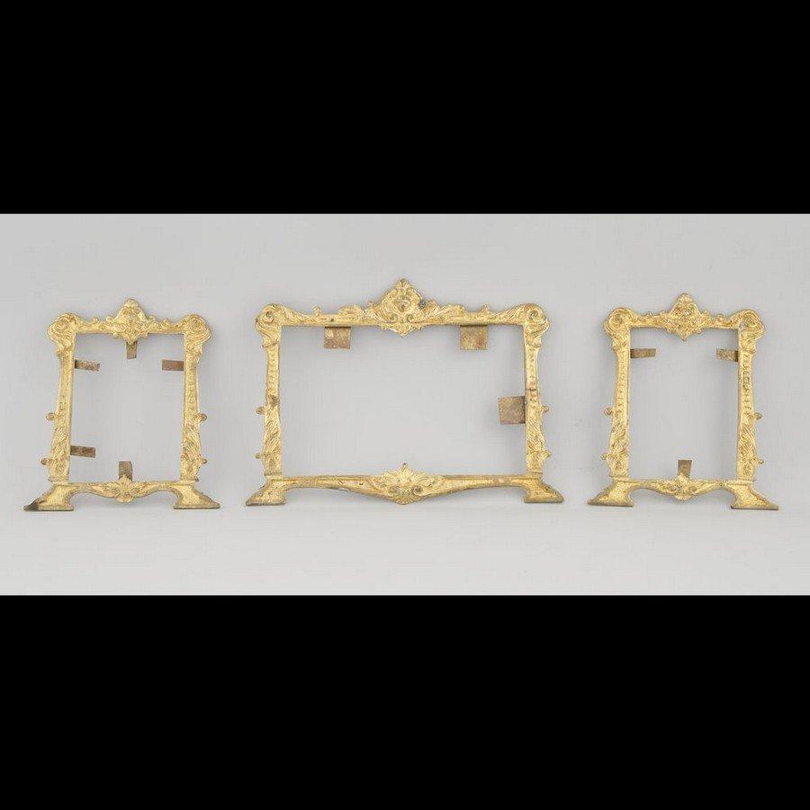 Set of three gilded copper altar frames
