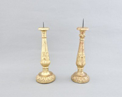 Set of two wooden candlesticks. Italy, early XIXth c.