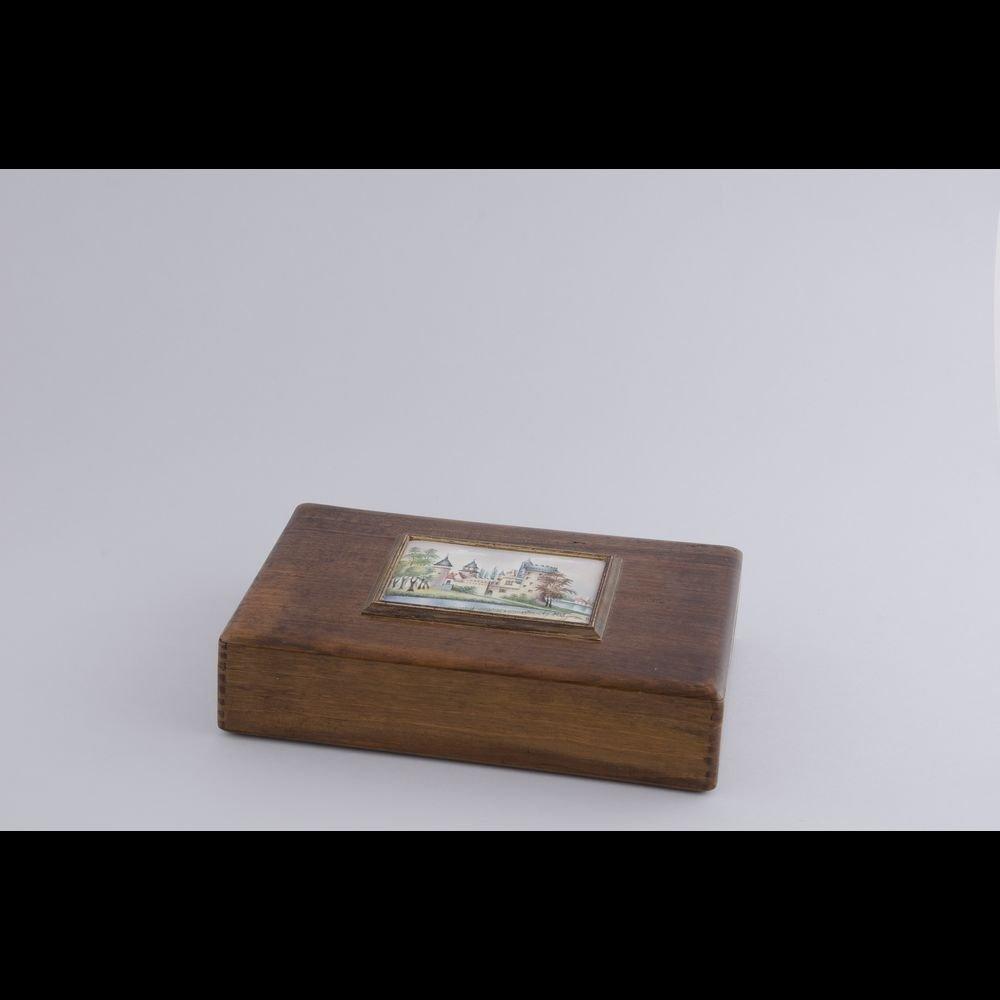 Old rectangular decorated wood box