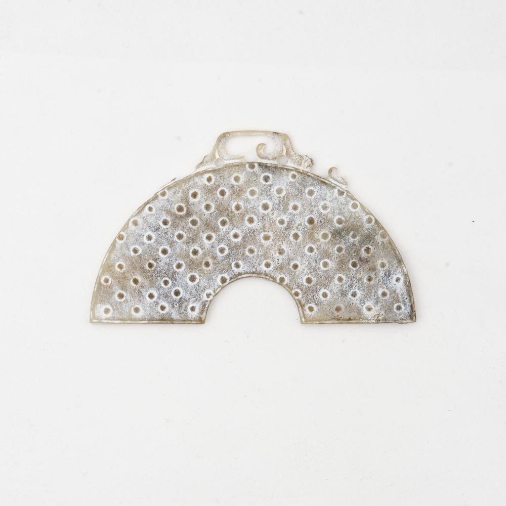 CHINA - Jewel shaped as a half-moon in ancient jade