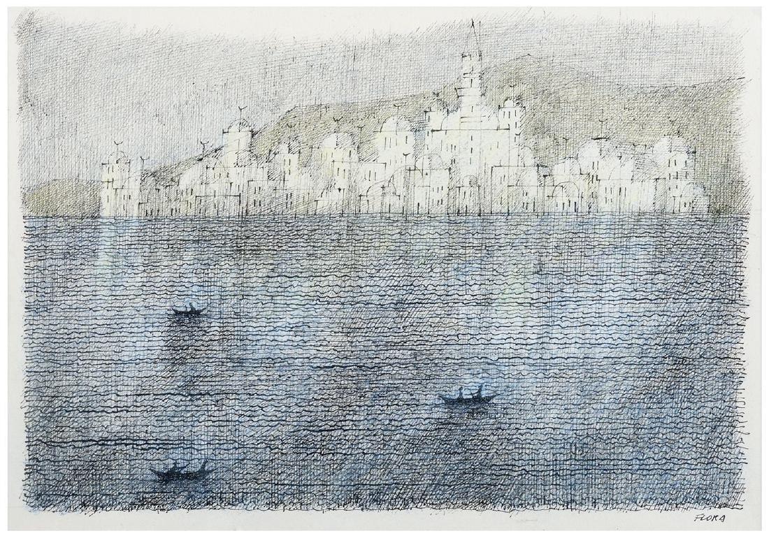 PAUL FLORA Disegno Acquarello e inchiostro su carta cm