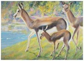 Elica Balla La famiglia di gazzelle Roma 1977 Tempera