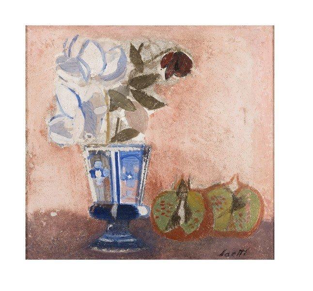 120 BRUNO SAETTI 1902 - 1984 White roses in blu
