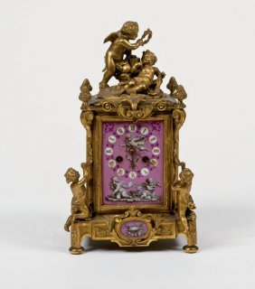 Table Clock With Gilded Bronze