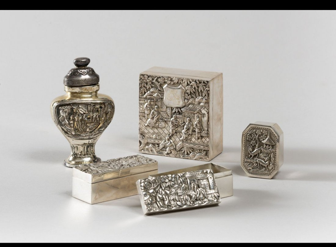 FOUR CHINESE SILVER BOX 1930