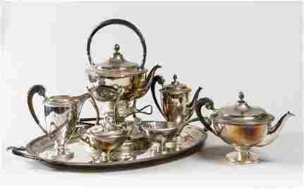 A FINE SILVER TEA SET VIENNA 1880 CIRCA
