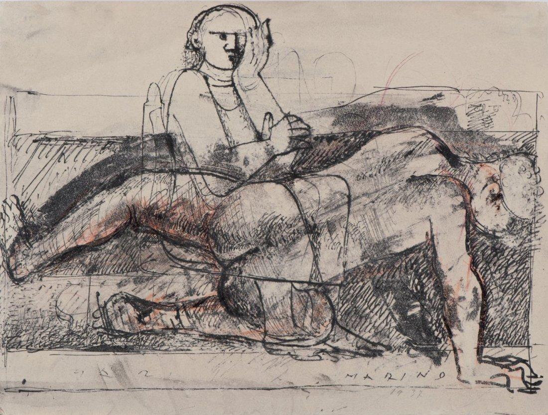 MARINO MARINI Two figures Ink on paper