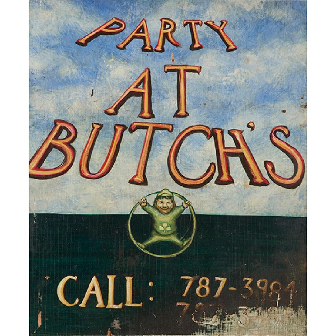 Butch McGuire's, Party at Butch's sign with logo,