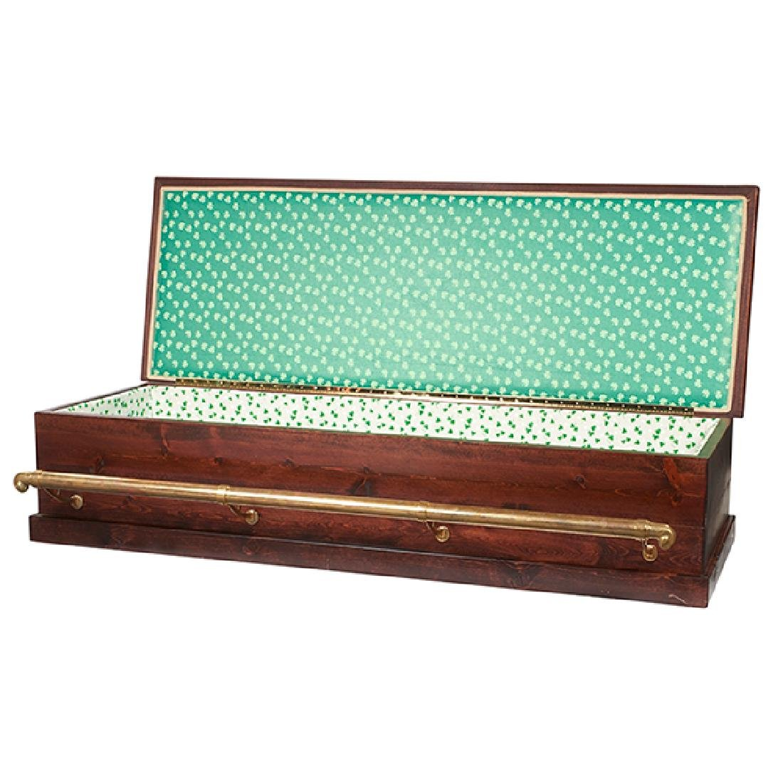 Custom Made, bar-form casket, mahogany, pine, brass,