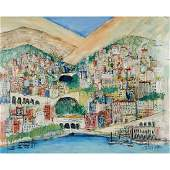 Artist Unknown, City on Water, oil on board, signed
