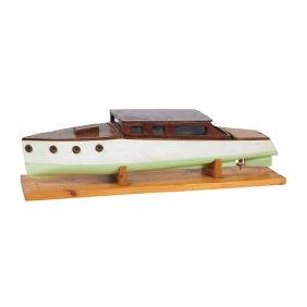 Vintage Nautical, Model of a speedboat, painted wood,