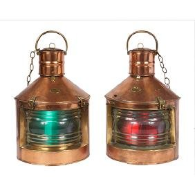 J. Vogels-Boon, nautical lanterns, pair, copper, brass,