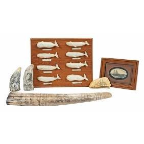 Whaling Themed, faux scrimshaw: three (3) teeth, one