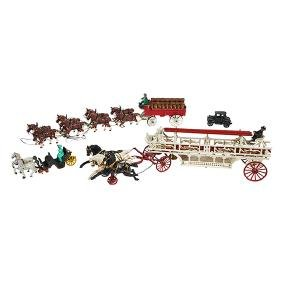 Reproduction, painted cast iron toys:, horse-drawn beer