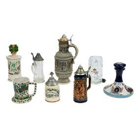 Barware, group lot of eight (8) decorative steins and