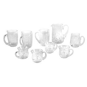 Waterford, group lot of nine (9) items:, pitcher; set
