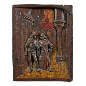 Vintage Decoration, relief wall plaque depicting two
