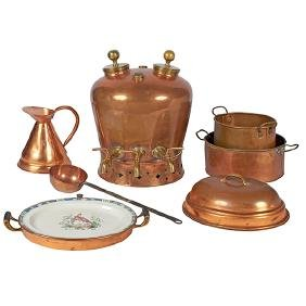 Antique, copper and brass kitchen articles, including:,